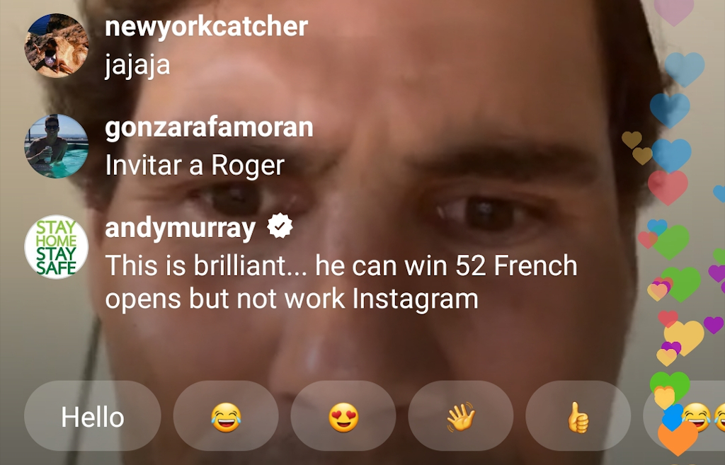 Rafael Nadal Instagram Live with Andy Murray fail 3