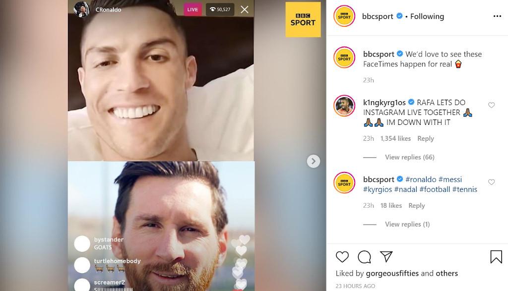 Nick Kyrgios and Rafael Nadal Instagram Live