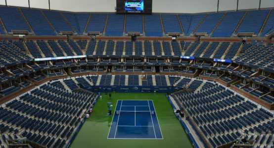 Empty Arthur Ashe Stadium at Flushing Meadows - US Open