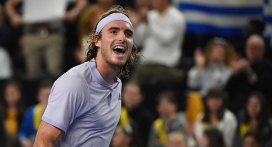 Stefanos Tsitsipas in action