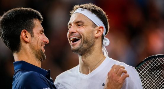 Novak Djokovic and Grigor Dimitrov share a joke