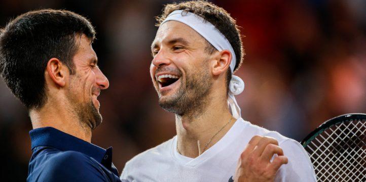 Novak Djokovic and Grigor Dimitrov share a joke