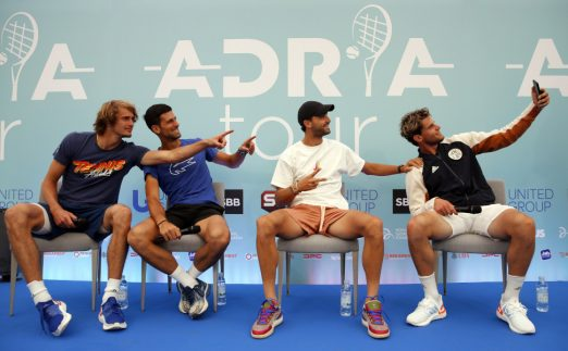 Alexander Zverev, Novak Djokovic, Grigor Dimitrov and Dominic Thiem