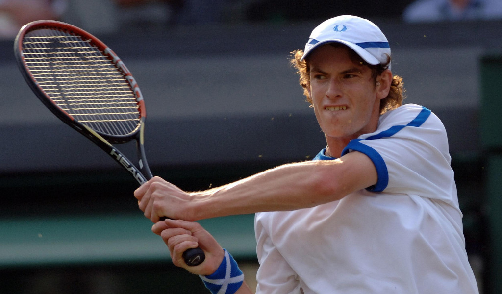 A young Andy Murray in action