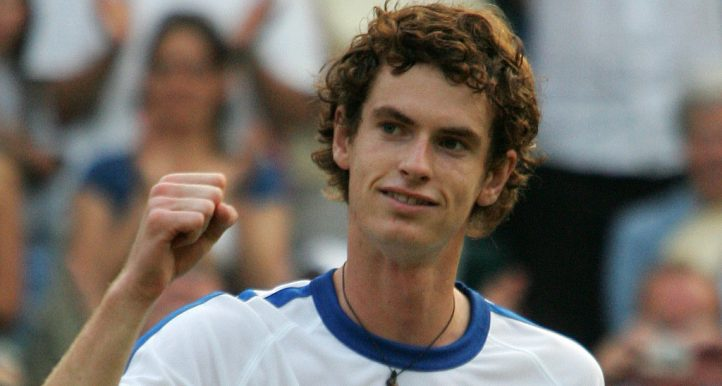 A young Andy Murray celebrates