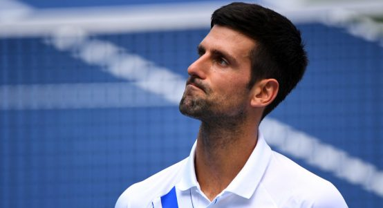 Novak Djokovic looking upset