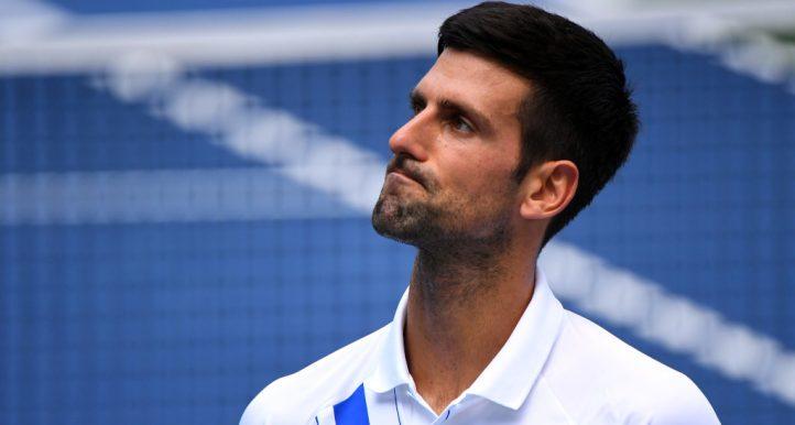 Novak Djokovic looking upset