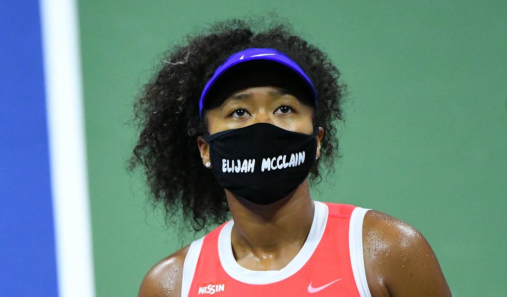 Naomi Osaka wearing an Elijah McClain mask