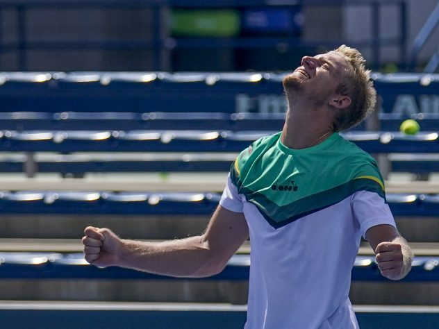 Spain's Alejandro Davidovich Fokina celebrates reaching the fourth round of a grand slam for the first time
