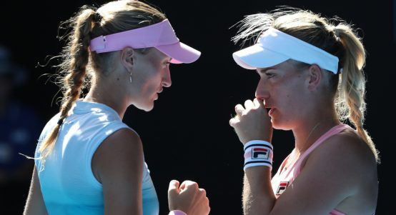 Kristina Mladenovic and Timea Babos in action