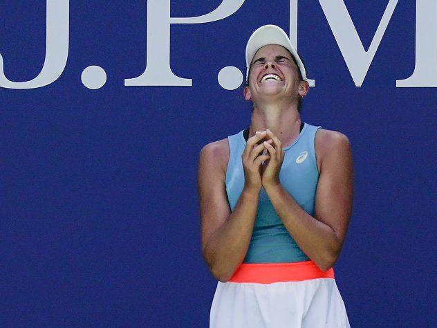 Jennifer Brady celebrates beating Angelique Kerber