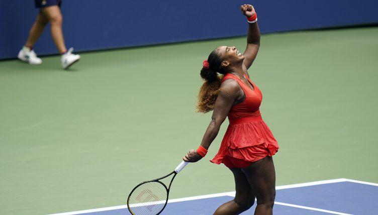 Serena Williams celebrating