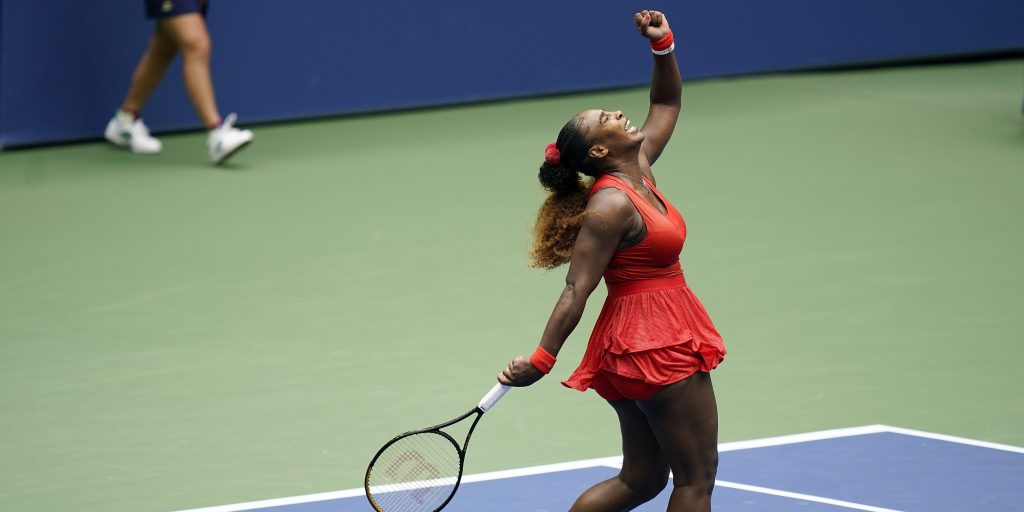 Serena Williams celebrating