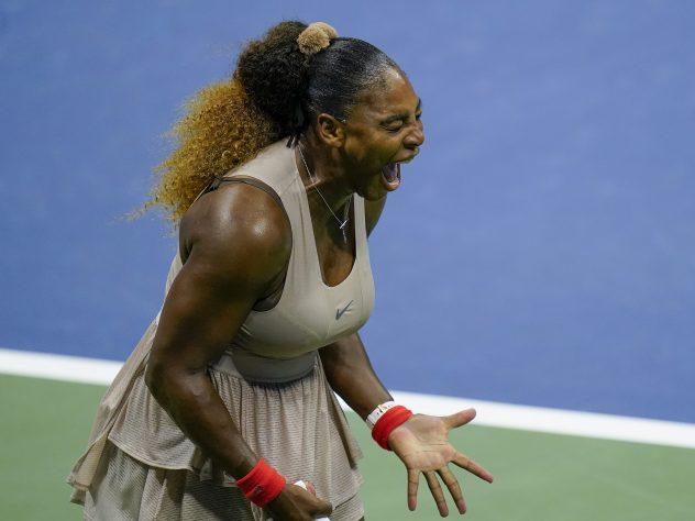 Serena Williams screams during her intense clash with Victoria Azarenka