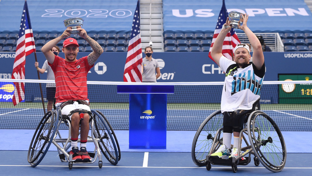Andy Lapthorne and Dylan Alcott US Open men's wheelchair quad champions