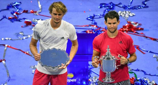 Alexander Zverev and Dominic Thiem at 2020 US Open trophy presentation