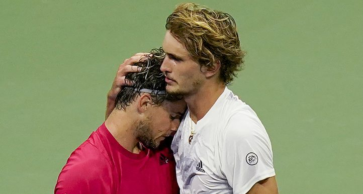Alexander Zverev and Dominic Thiem hugging