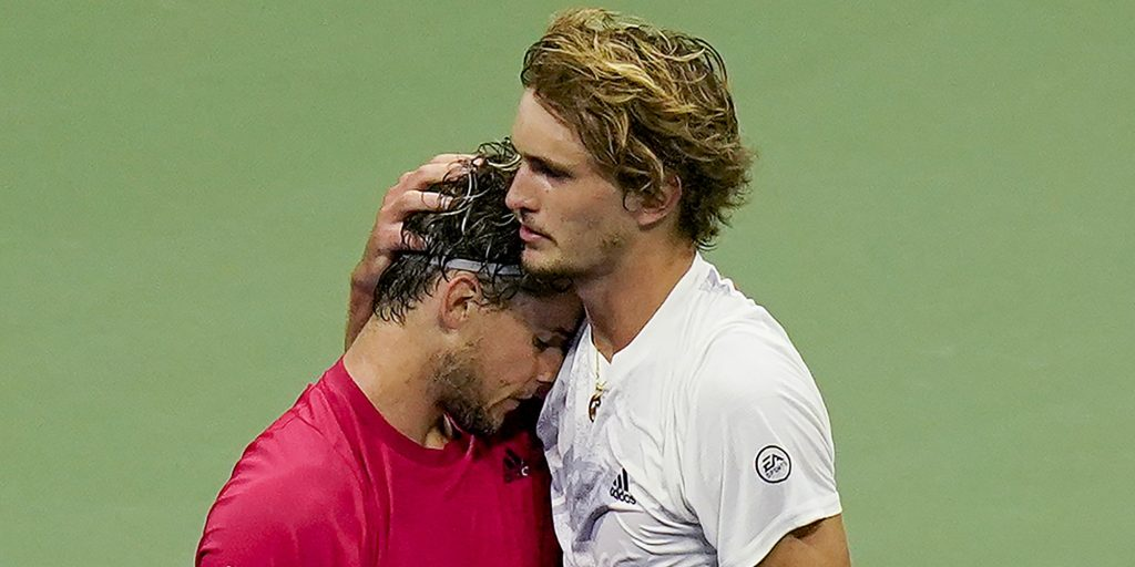 Alexander Zverev and Dominic Thiem hugging