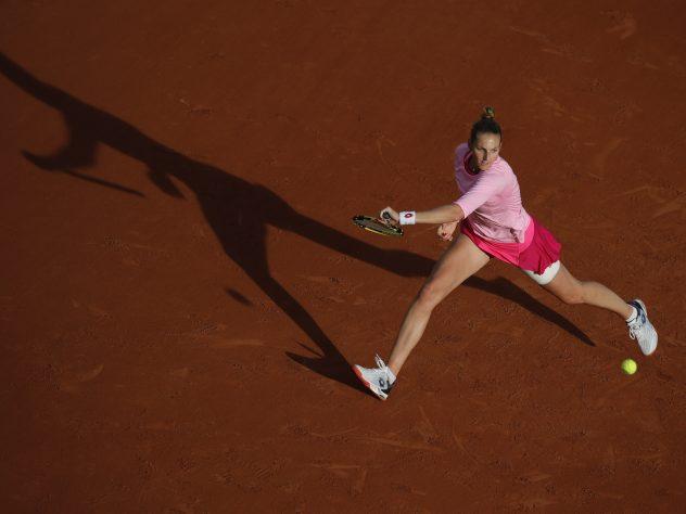 The sunshine arrived at Roland Garros on Thursday as Kristyna Pliskova plays a shot