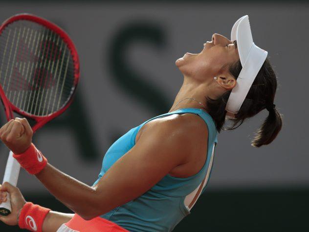 Caroline Garcia celebrates winning her match against Elise Mertens