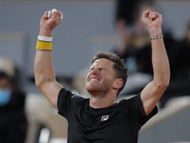 Diego Schwartzman celebrates his five-hour victory over Dominic Thiem