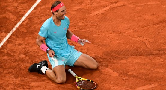 Rafael Nadal celebratse 2020 French Open success at Roland Garros