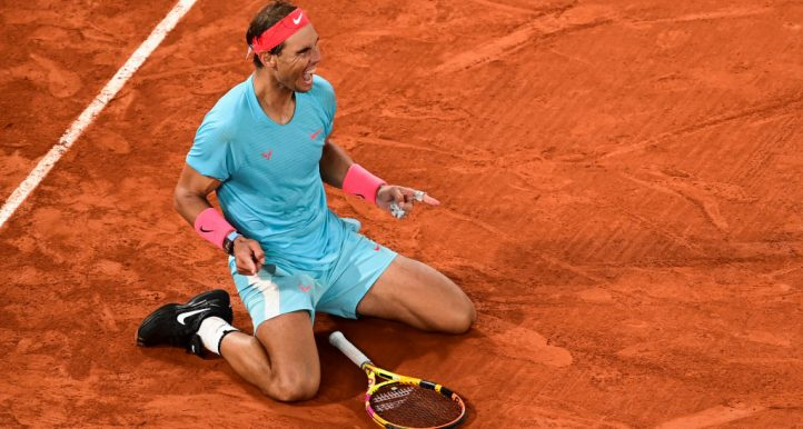 Rafael Nadal celebratse 2020 French Open success at Roland Garros