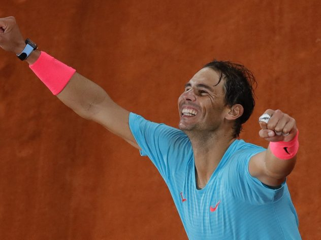 Rafael Nadal shows his delight at his 13th French Open title