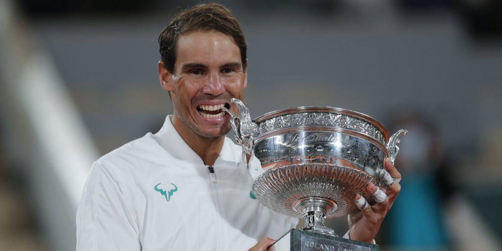 Rafael Nadal with Roland Garros trophy