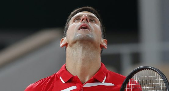 Novak Djokovic looking up