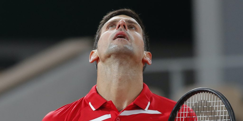 Novak Djokovic looking up