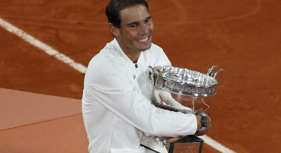 Rafael Nadal with the French Open trophy