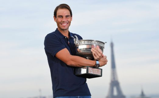 Rafael Nadal with French Open trophy