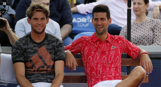 Dominic Thiem and Novak Djokovic relaxed
