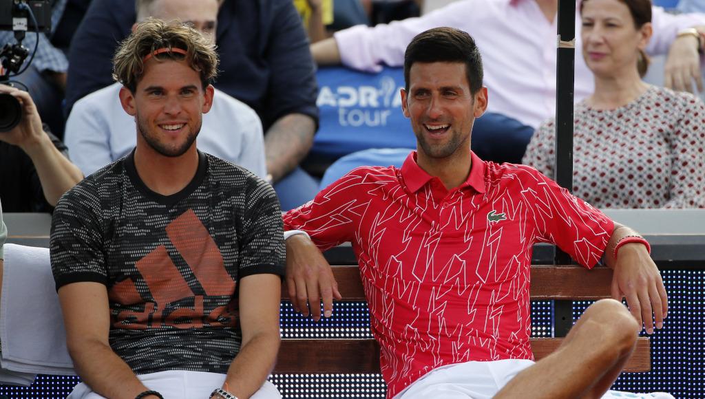 Dominic Thiem and Novak Djokovic relaxed