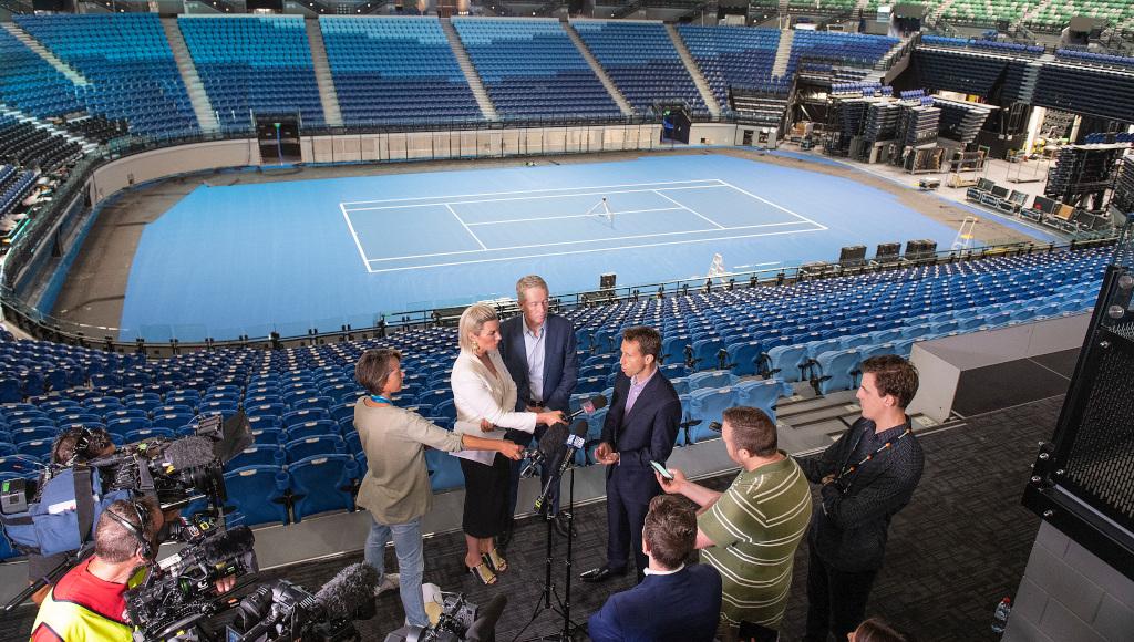 Tennis Australia's Craig Tiley inside Rod Laver Arena