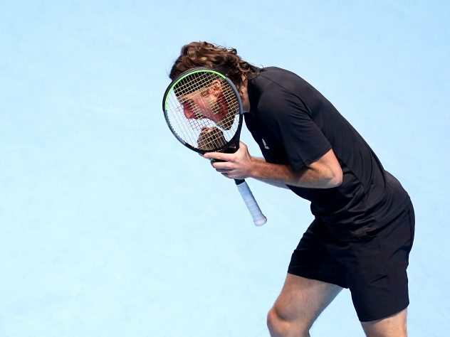 Stefanos Tsitsipas shows his frustration during his loss to Dominic Thiem