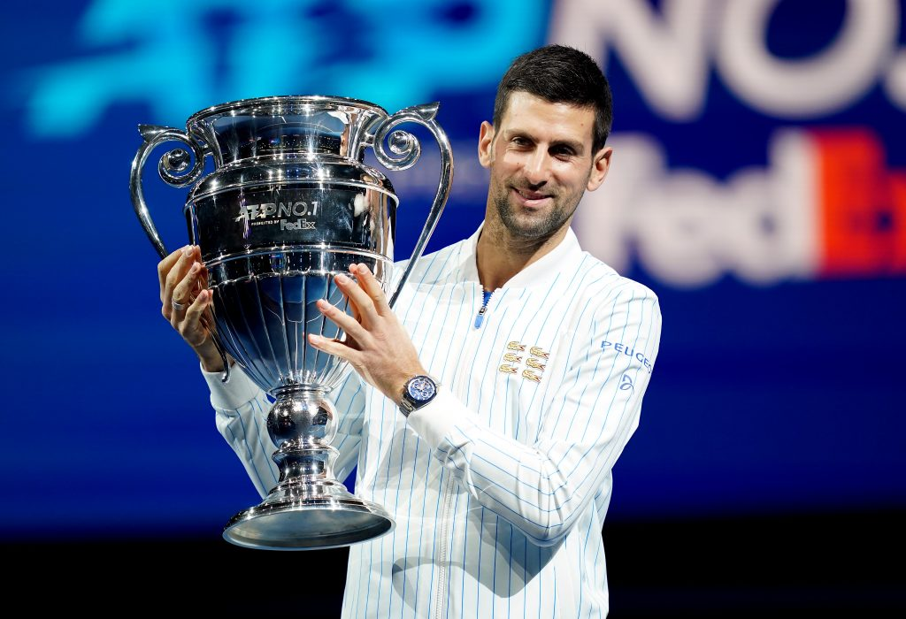 Novak Djokovic ATP year-end trophy