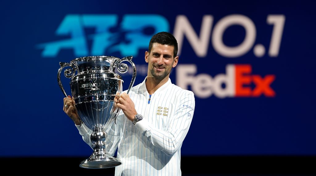 Novak Djokovic with the ATP year-end No 1 trophy