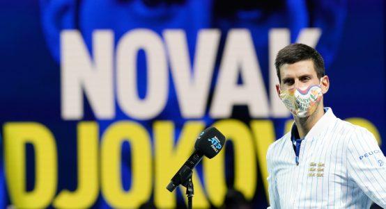 Novak Djokovic addressing the media