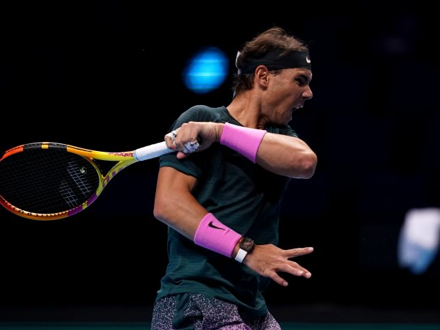 Rafael Nadal unleashes a forehand during his defeat by Dominic Thiem
