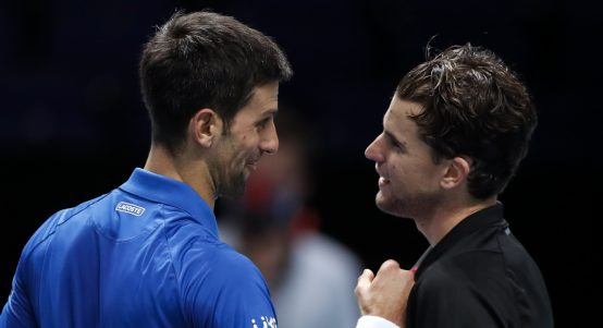 Novak Djokovic and Dominic Thiem post-match