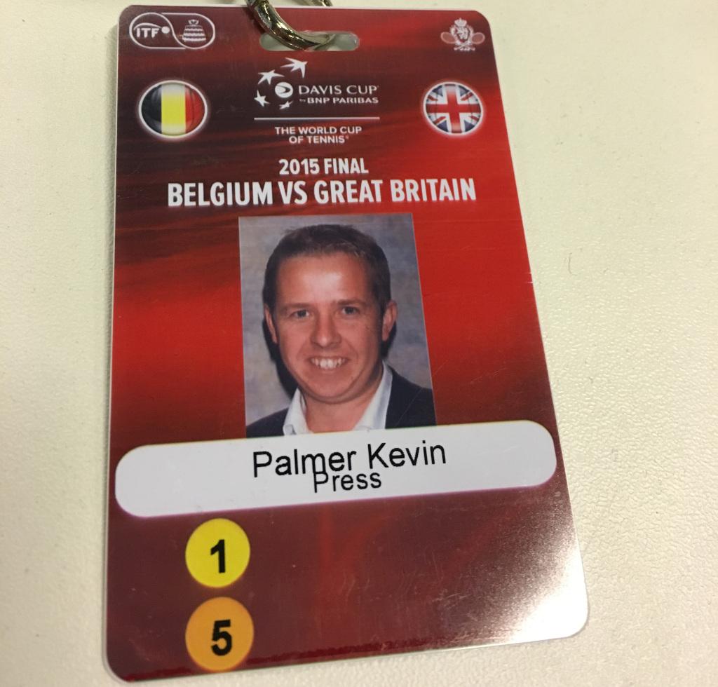 Kevin Palmer 2015 Davis Cup final press pass