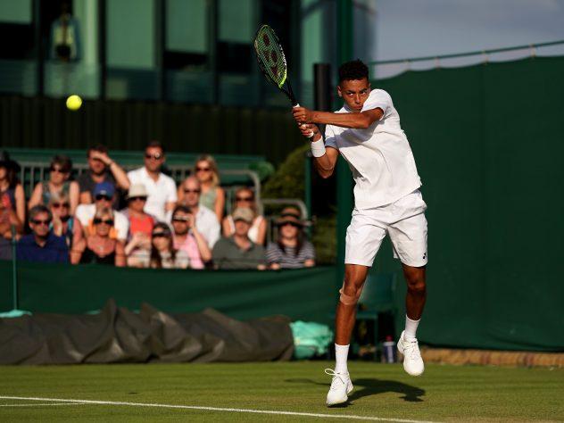 Paul Jubb during his Wimbledon debut against Joao Sousa