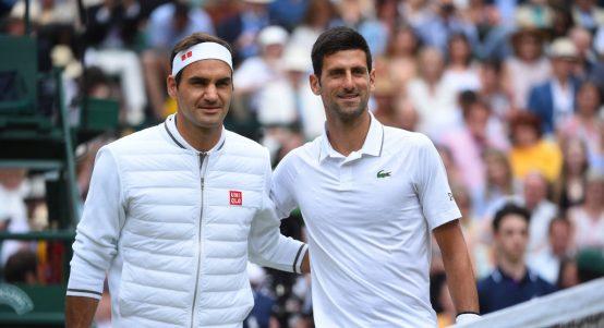 Roger Federer and Novak Djokovic match