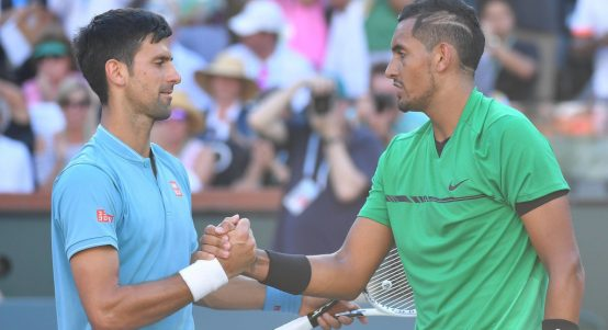 Novak Djokovic and Nick Kyrgios shaking hands
