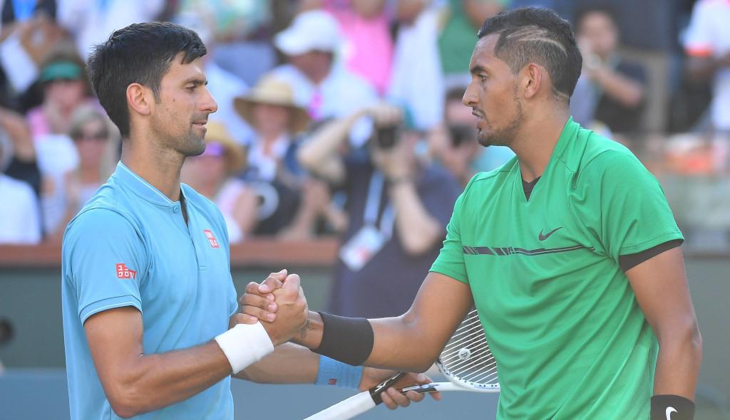 Novak Djokovic and Nick Kyrgios shaking hands