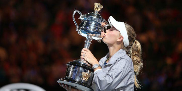 Caroline Wozniacki with 2018 Australian Open trophy