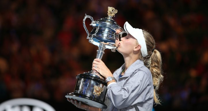 Caroline Wozniacki with 2018 Australian Open trophy
