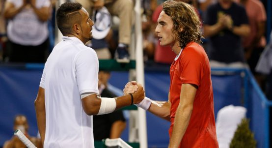 Nick Kyrgios and Stefanos Tsitsipas shaking hands